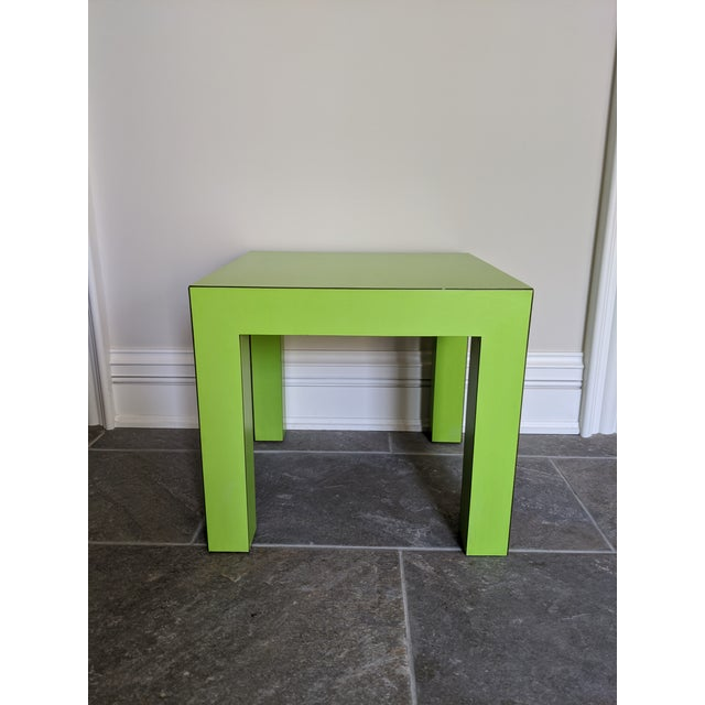 1980s Vintage Milo Baughman Style Lime Green Laminate Parsons Side Table For Sale - Image 9 of 9