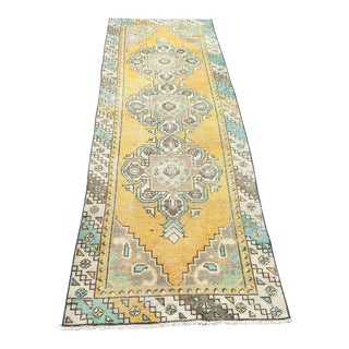 1960s Vintage Turkish Oushak Runner Rug - 2′9″ × 8′10″ For Sale