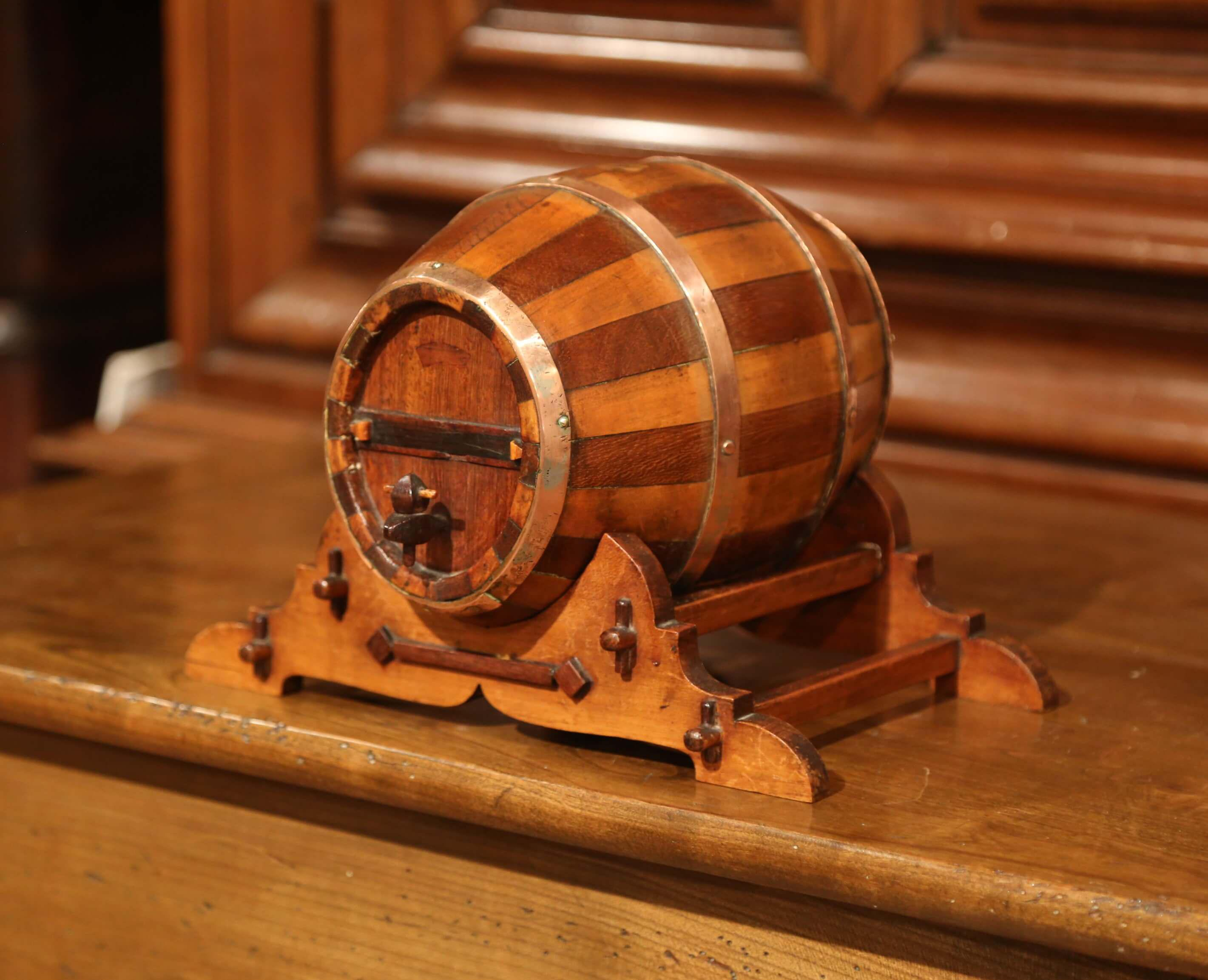 Early 20th Century French Carved Fruitwood And Brass Cognac Barrel