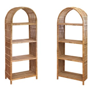 Vintage Wicker Etageres - a Pair For Sale