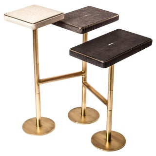 Rotating 3-Top Side Table in Shagreen & Bronze-Patina Brass by Kifu Paris For Sale