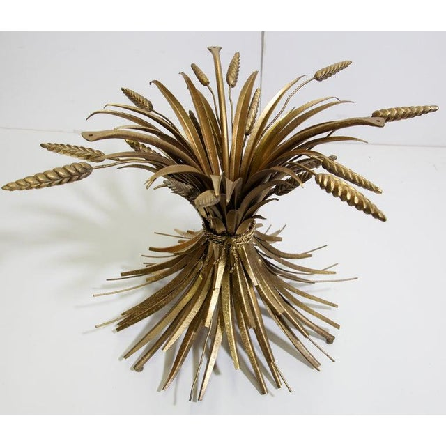 Vintage French Metal Sheaf of Wheat Side Table with Glass Top For Sale In Los Angeles - Image 6 of 10