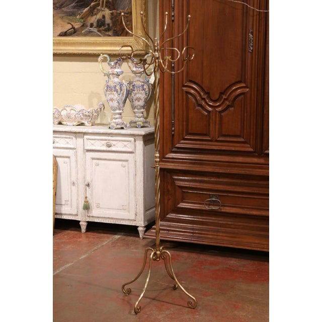 Mid-Century French Gilt Brass Swivel Four Hat-Coat Hooks Hall Tree For Sale - Image 10 of 10