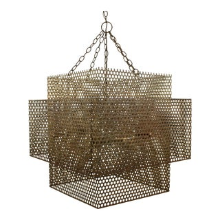 Round Mesh Metal Double Tier Square Pendant Light