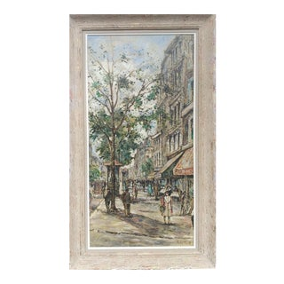 """Mid 20th Century """"St. Denis Paris Street"""" Oil Painting by Andre Picot, Framed For Sale"""