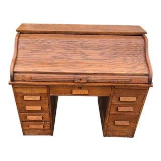 Early 20th Century Antique Oak Rolltop Desk For Sale