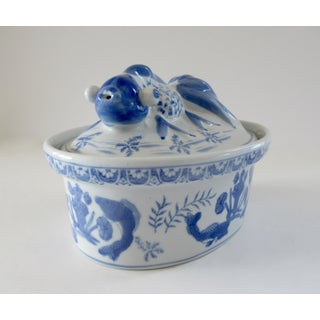 Vintage Chinoiserie Blue and White Porcelain Koi Fish Tureen Preview