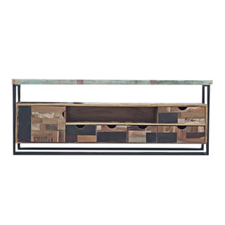 Vintage Reclaimed Wood Console Media Cabinet Credenza For Sale