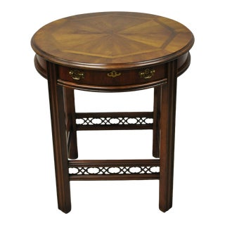 Vintage Lane Chinese Chippendale Inlaid Cherry 1 Drawer Round Lamp Side End Table For Sale