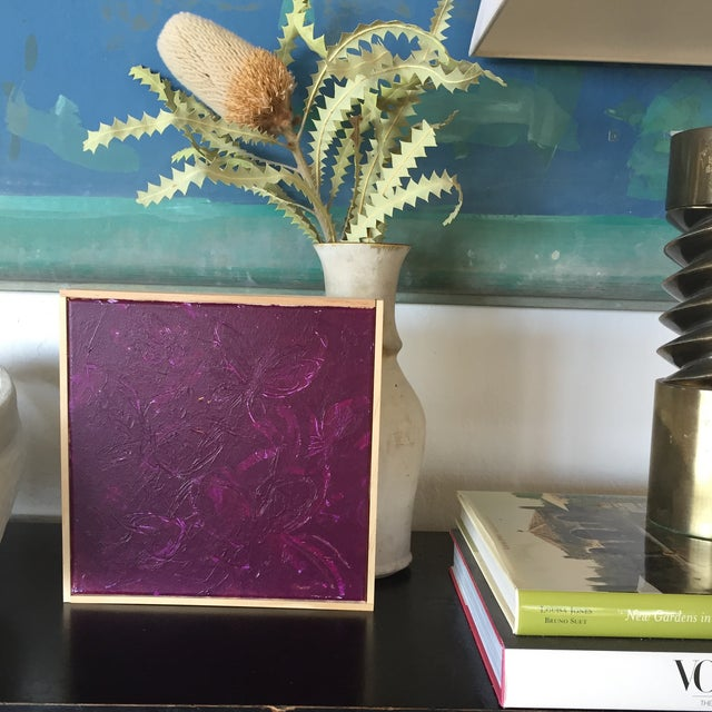 Framed acrylic sgraffito painting in eggplant purple.