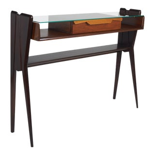 Italian 1950s Ico Parisi Att., Biomorphic Three-Tone Rosewood and Glass Console For Sale