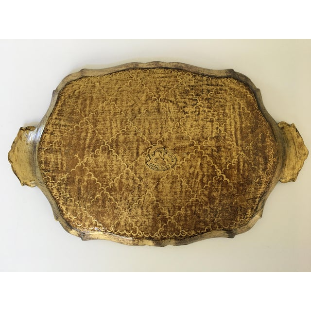 Gold Mid-Century Gilt & Green Wooden Florentine Handled Tray - Italy For Sale - Image 8 of 10