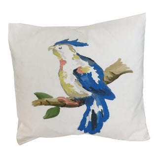 Dana Gibson Blue Parrot Pillow For Sale