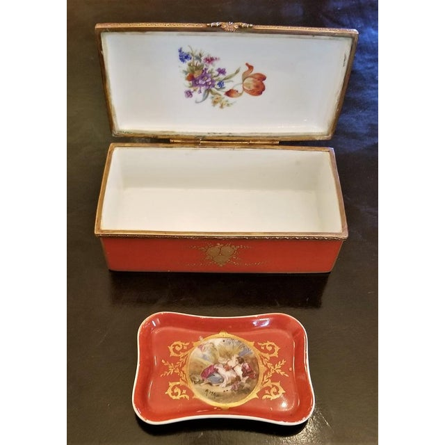 19th C. Sevres Porcelain Trinket Box With Ring Tray - Set of 2 For Sale - Image 11 of 13