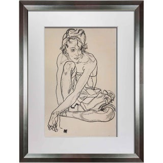 Egon Schiele Framed Woman Crouching Lithograph