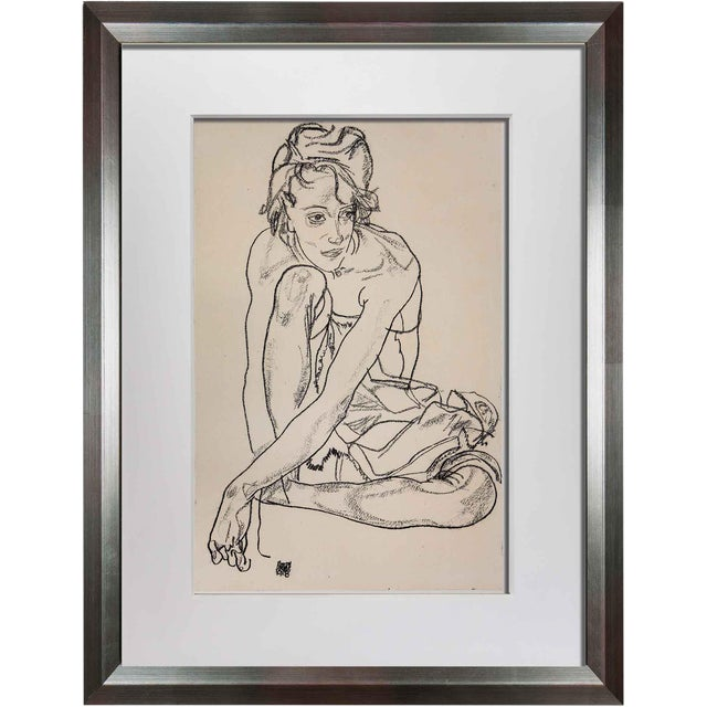 Egon Schiele Framed Woman Crouching Lithograph For Sale