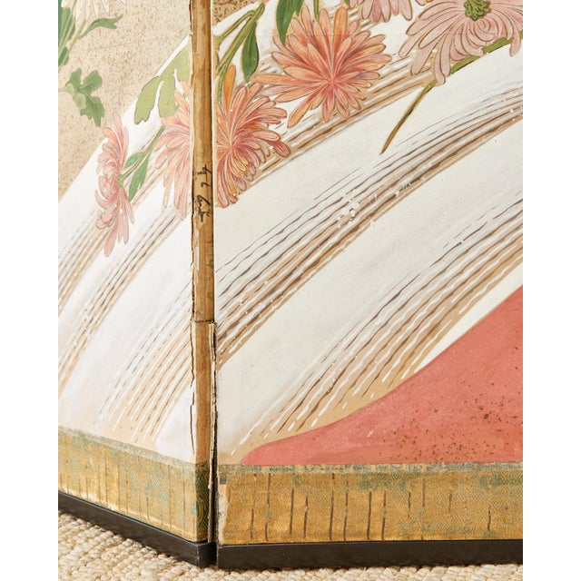Japanese Six Panel Meiji Screen Chrysanthemums and Waterfall For Sale - Image 11 of 13