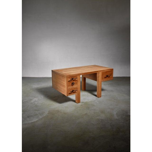 1950s Jean Touret Oak Desk for Marolles, France, 1950s For Sale - Image 5 of 5