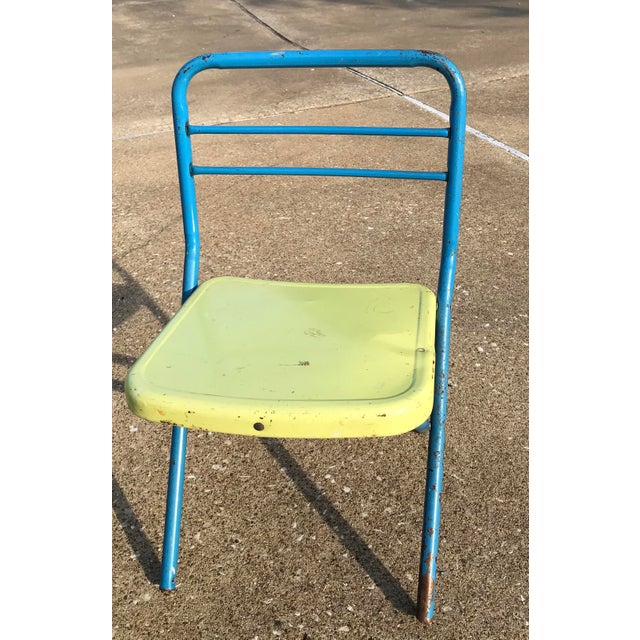 Children's Vintage Children's Metal Folding Chairs - a Pair For Sale - Image 3 of 11