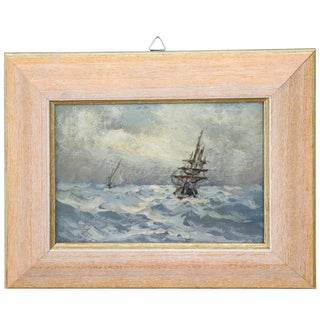 20th Century Oil Painting on Hardboard Marine With Boats For Sale