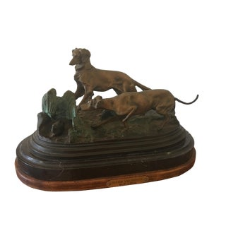 1950s Vintage Bronze Dogs With Quail Signed Figurine For Sale