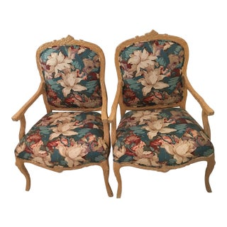 Plaid With Floral Provincial Chairs - A Pair