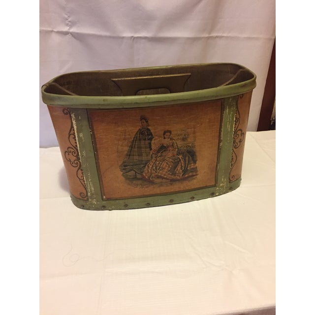 Great Vintage 60's-70's magazine holder in good vintage condition. 1800's motif on the front looks like Civil War era....