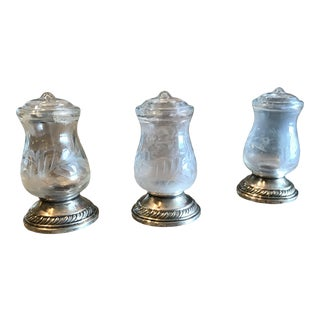 1940's Vintage Quaker Sterling Co Sterling Silver Hurricane Lamp Salt and Pepper Shakers - Set of 3 For Sale