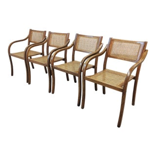 Danish Modern Caned Stacking Arm Chairs - Set of 4 For Sale