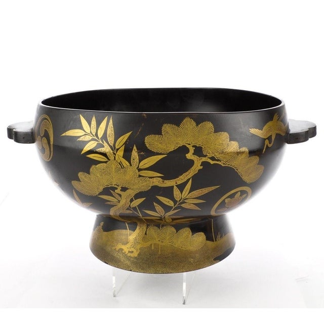 Wonderful Antique Japanese gold and black lacquer pedestal bowl with butterfly handles. Excellent vintage condition. One...