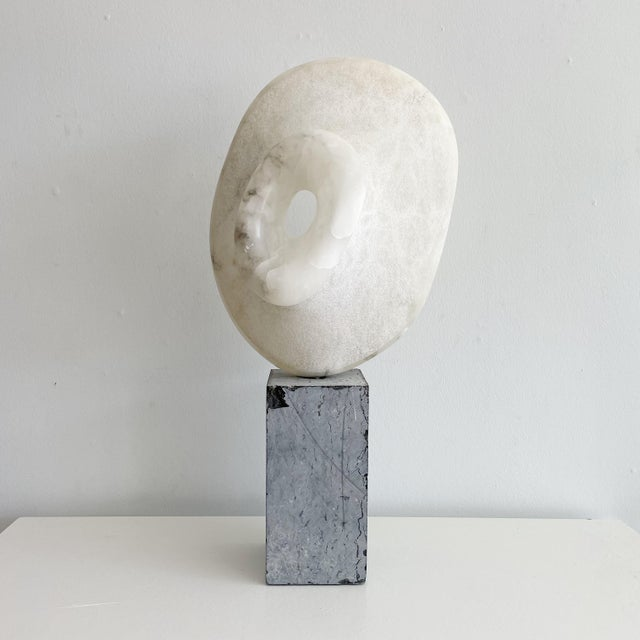 Abstract Vintage Freeform Abstract Alabaster Sculpture on Marble Base Circa 1973 Signed O'Day For Sale - Image 3 of 10