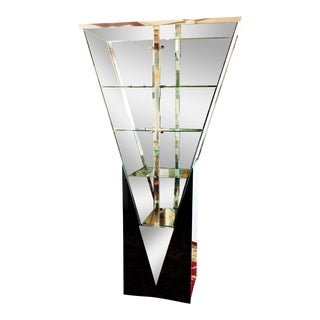 Modern Triangular Black Curio Display Cabinet