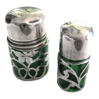 Silver & Green Glass Antique Powder Bottles - A Pair For Sale