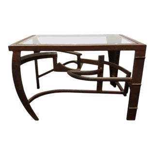 Artisan Crafted Iron and Glass Table Postmodern Brutalist For Sale