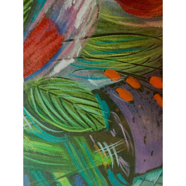 1991 Original Penny Feder Expressionist Floral Monotype Painting- Vintage/Signed For Sale In Nashville - Image 6 of 13