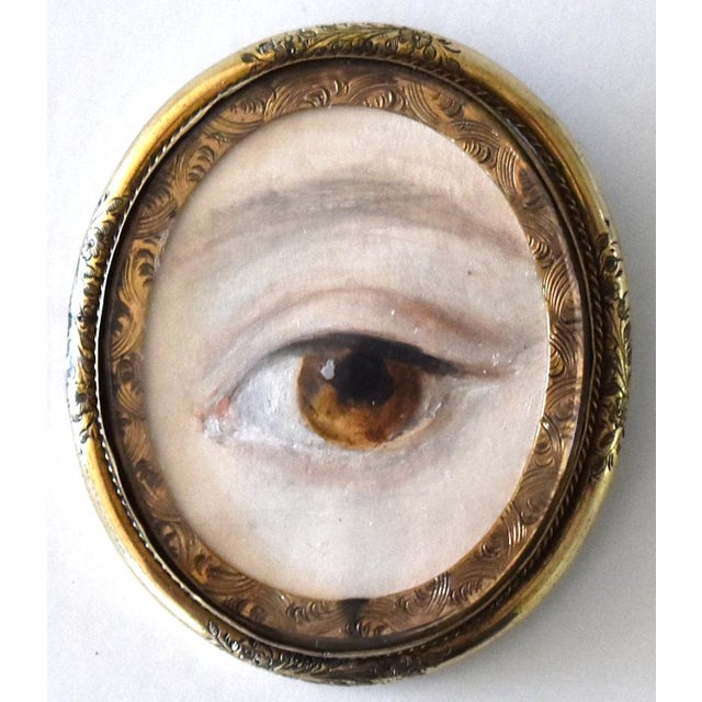 Contemporary Lover's Eye Painting by S. Carson in a Victorian Brooch For Sale - Image 9 of 9