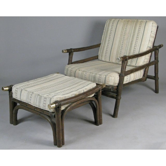 Mid-Century Modern Ficks Reed Style Rattan Lounge Chairs & Ottomans - 4 Pieces For Sale - Image 3 of 8