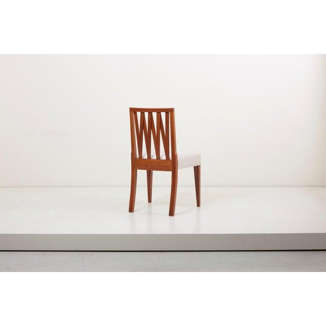 Newly Restored Set of 8 Lattice Back Dining Chairs Attributed to Paul T. Frankl For Sale - Image 10 of 13