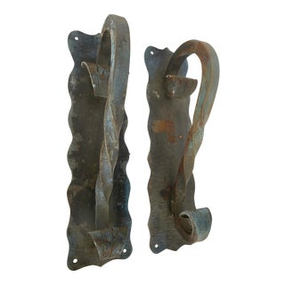 Antique French Iron Door Pulls - a Pair For Sale