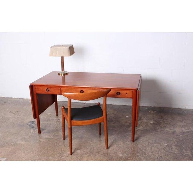 Teak Hans Wegner Drop-Leaf Table Desk AT305 For Sale - Image 7 of 10