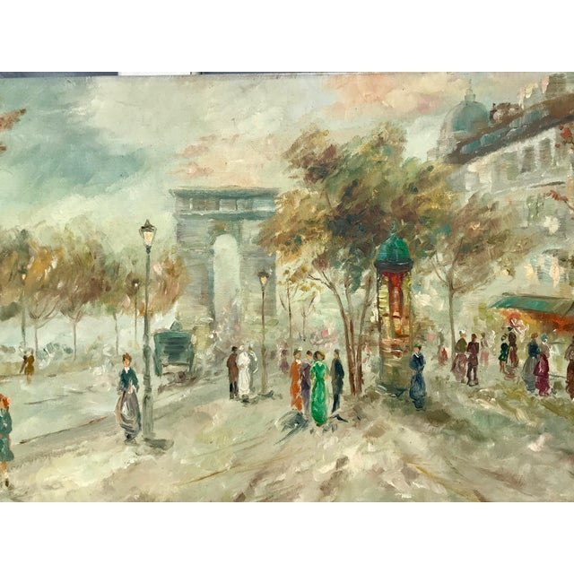 1950s Vintage Pastel Paris City Scene Painting For Sale In Los Angeles - Image 6 of 8