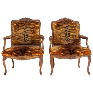 18thc. French Regence Walnut Armchairs- Similar Pair For Sale