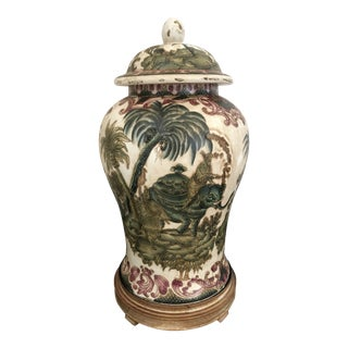 Maharaja on Elephant With Palm Trees Scenic Motif Glazed Ginger Jar For Sale