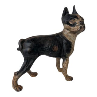 Vintage Cast Iron Doorstop of a Boston Terrier For Sale