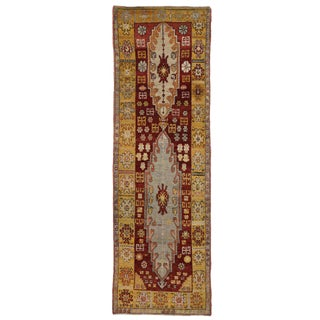 Vintage Turkish Oushak Runner with Modern Design