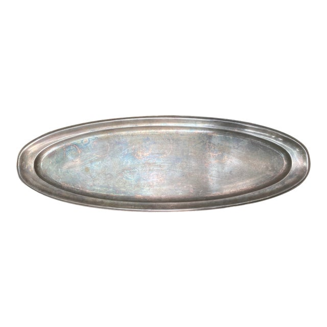 Silver Oval Serving Tray Platter For Sale