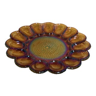 Carnival Glass Egg Serving Tray