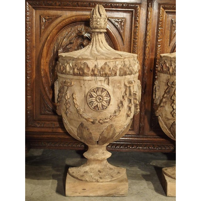 Neoclassical Pair of Neoclassical Style Carved Wooden Half Urns From England For Sale - Image 3 of 11