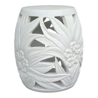 Carved Marble Garden Stool/Side Table in Solid White Stone Jardins en Fleur Showroom Sample For Sale