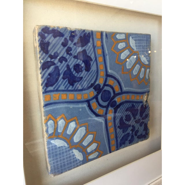 Framed Italian Antique Blue, Yellow, & White Tile For Sale In Kansas City - Image 6 of 7